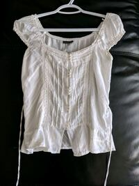 White off-the-shoulder blouse size small $8 firm price  Calgary, T2E 0B4