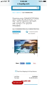 BRAND NEW SAMSUNG SMART 4K 2019 MODEL 82 INCH Q70R QLED  HDR
