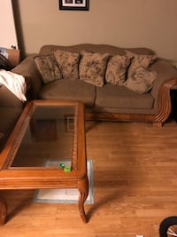 brown wooden framed glass top coffee table Alexandria, 22302