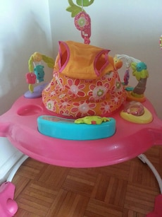 pink and orange activity bouncer