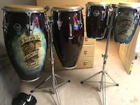 three black and blue drum set Upper Marlboro, 20772