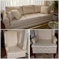 "3pc CUSTOM MADE FOUR SEATER SOFA / COUCH AND TWO WING CHAIRS - NEW 4 1/2"" FOAM ON SOFA Coquitlam, V3K 1H2"