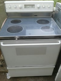 white and gray induction range oven