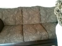 brown and gray floral fabric 3-seat sofa