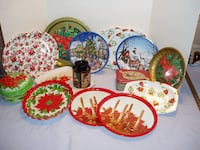 Assorted Christmas plates and tins Downey