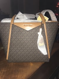 gray and brown Michael Kors monogram tote bag Bartow, 33830