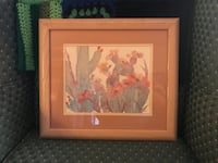 Prickly pear cactus soft peach and green colors framed art Excellent! Houston, 77018