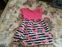 women's white, pink, and black floral dress