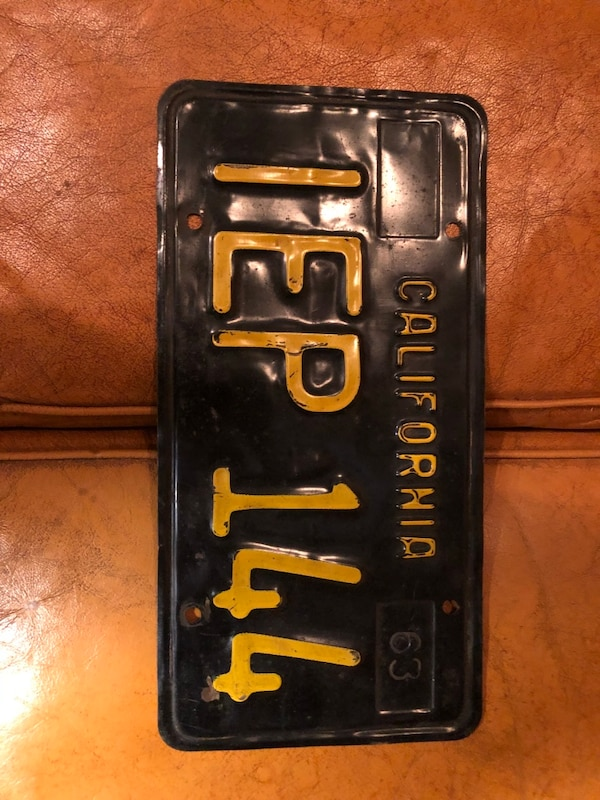 1963 California License Plate - antique - Black and Gold