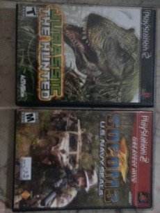 Sony PS2 Jurassic The Hunted and Socom 3 U.S. Navy Seals game cases