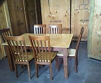 rectangular brown wooden table with six chairs dining set 60 km