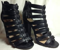Pair of black leather open-toe gladiator sandals CALGARY