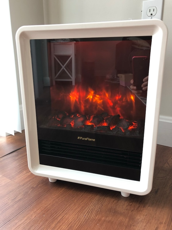 Used Portable Electric Fireplace Heater 1500w White For Sale In