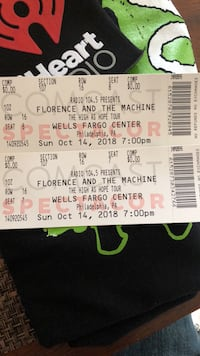 Florence and the Machine Tickets for tomorrow night Sunday 10/14 Hammonton, 08037