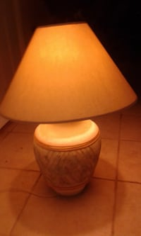 brown and white table lamp Clermont