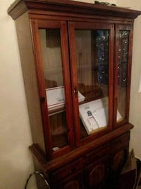 brown wooden framed glass display cabinet Brooklyn, 11226