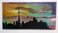 24x12 inches Toronto skyline fluid painting  Mississauga, L5M 3G6