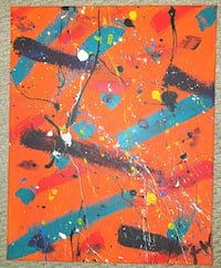 Bright Orange Abstract Painting