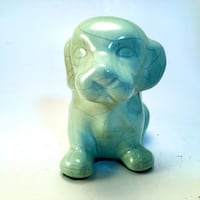 Adorable Glazed & Crazed Green Ceramic Puppy Dog Figurine! Norman, 73069