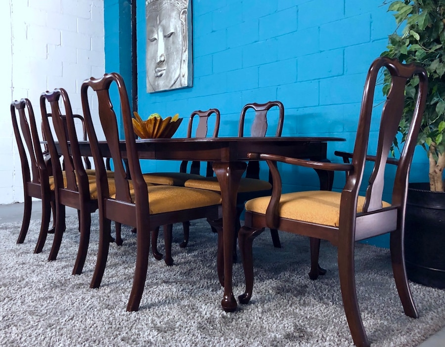 ethan allen 8pc wood dining table and chair set free delivery rh es letgo com