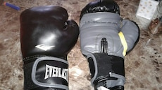 pair of black-and-grey Everlast boxing gloves