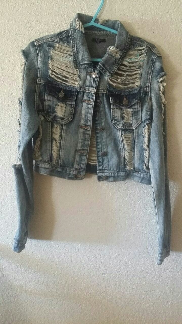 faded gray denim distressed button-up jacket