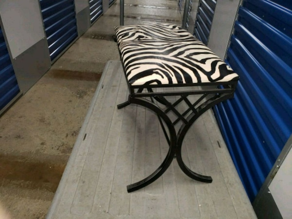 black and white zebra print padded vanity chair