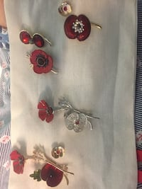 silver and red flower brooches Coquitlam, V3K