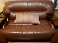 brown leather 3-seat sofa Burke