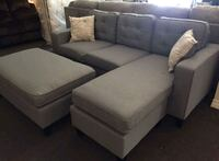 Brand New Light Grey Linen Sectional Sofa Couch + Ottoman  Silver Spring, 20902