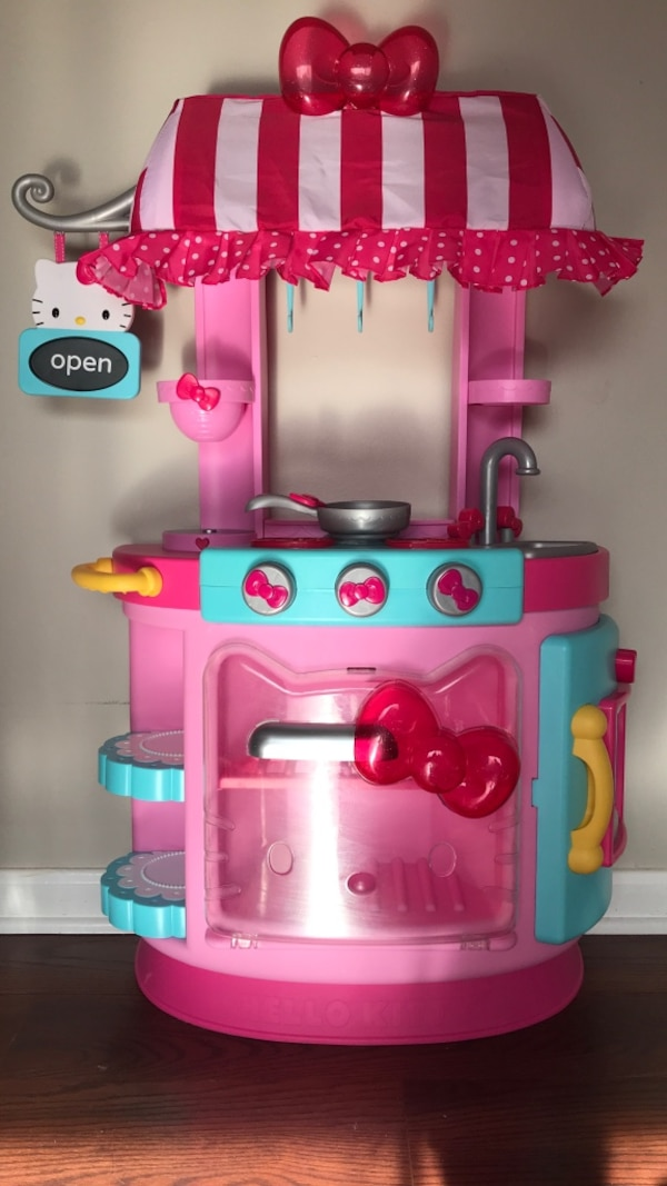 Used children\'s pink and blue kitchen play set for sale in ...