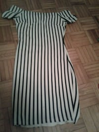 white and black stripe scoop neck cap sleeve dress Toronto