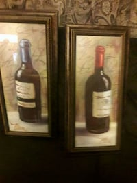 two wine still life paintings with brown wooden frames San Jose, 95111