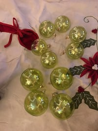 10 Green Glass Christmas Tree Ornaments Chicago, 60601