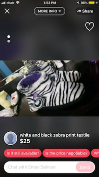 Black and white zebra print textile screenshot London, N6J 2M3