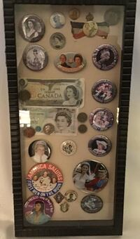 Wall Shadow Display case with Collectible Royal/Aviation/Elvis pins/Money