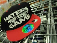 black and red Haters are part of the game print snapback cap