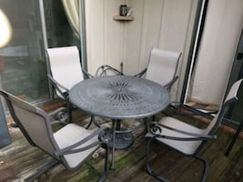 Wroght Iron Patio Set with umbrella and 4 chairs
