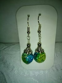 blue-and-green glass pendant hook earrings Inverness