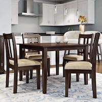 rectangular brown wooden table with four chairs dining set Pittsburg, 94565
