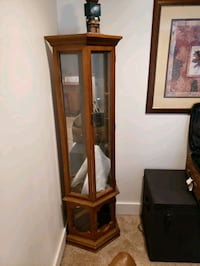 oak corner cabinet with glass shelves Furlong, 18925