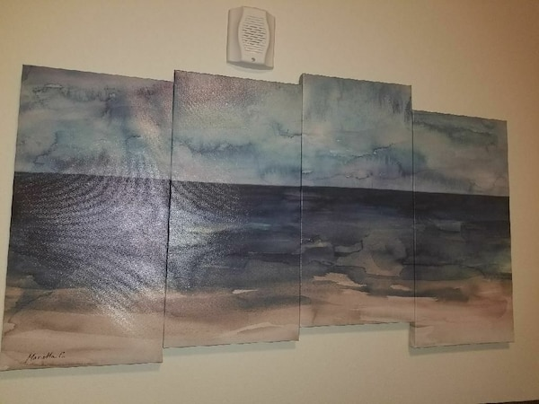 seashore and body of water 4-panel painting
