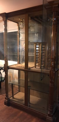 brown wooden framed glass display cabinet Los Angeles, 91335
