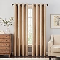 """Dramatic 144"""" Beige drapes with grommet top Silver Spring"""