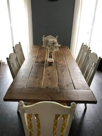 Handmade Farmhouse Table with 6 Reupholstered chairs  Fort Plain, 13339