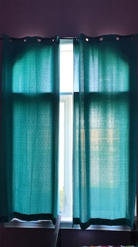Turquoise window curtain-