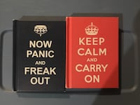 Keep Calm and carry on ad Now Panic and FReak out books.     From a smoke free and pet free household .