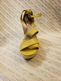 pair of yellow open-toe ankle strap heeled sandals Brampton