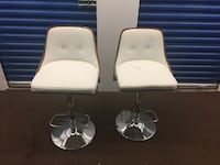 Two white leather barstool chairs Toronto, M1L 0G6