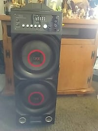 black and red OFX subwoofer Hesperia, 92345